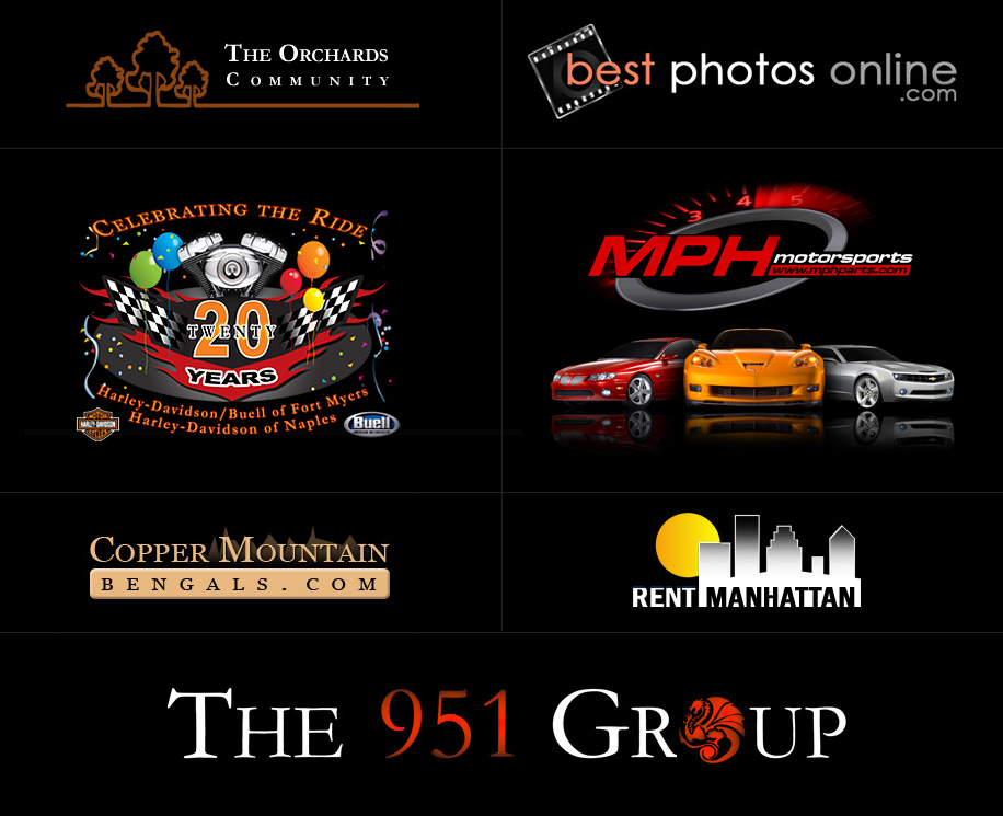 The Orchards, Best Photos Online, Harley-Davidson / Buell of Fort Myers & Harley-Davidson of Naples, MPH Motorsports, Copper Mountain Bengals, Rent Manhattan, and The 591 Group.