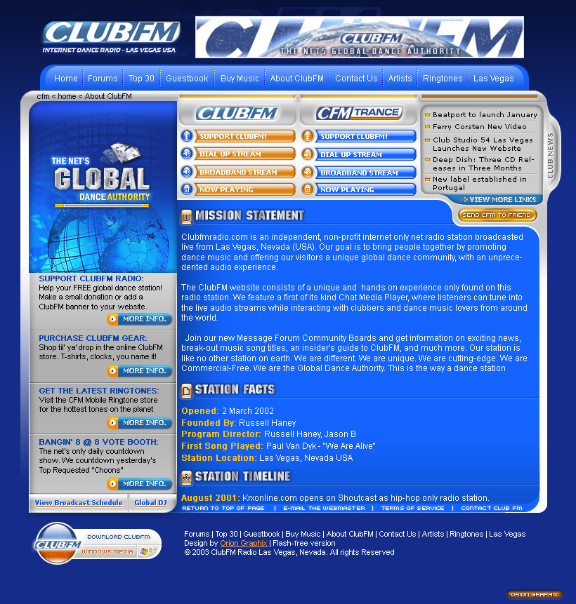 Club FM Radio Internet Web Design Site