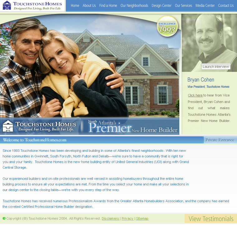 Naples web design website design company offering flash for Touchstone homes